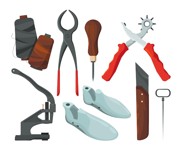 Verschiedene werkzeuge zur schuhreparatur. illustration von schuhreparaturwerkzeugen, schuhmacherausrüstung