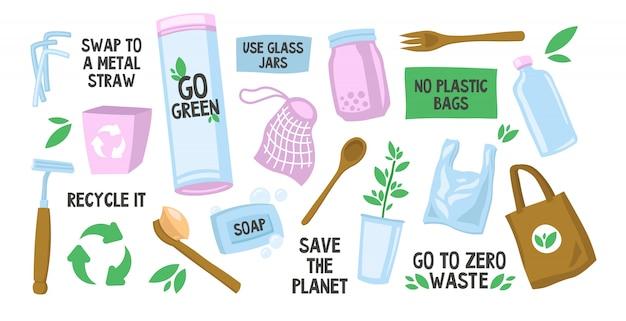 Verschiedene wiederverwendbare öko-taschen und flaschen eingestellt