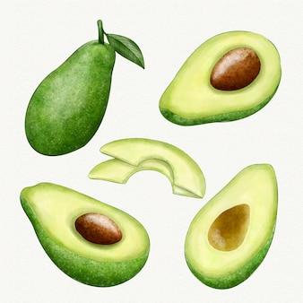 Verschiedene winkel der avocado-frucht