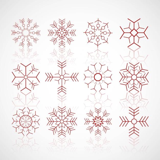 Verschiedene winterschneeflocken stellten designvektor ein