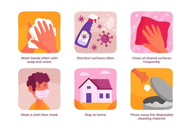 Verschiedene wirksame möglichkeiten, um coronavirus zu verhindern