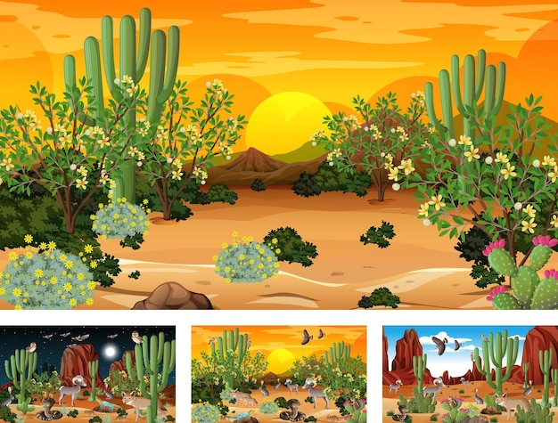 Verschiedene wüstenwaldlandschaftsszenen mit tieren und pflanzen