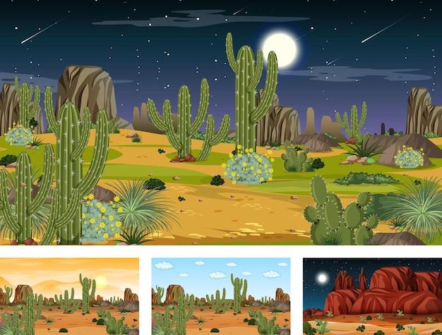 Verschiedene wüstenwaldszenen mit tieren und pflanzen