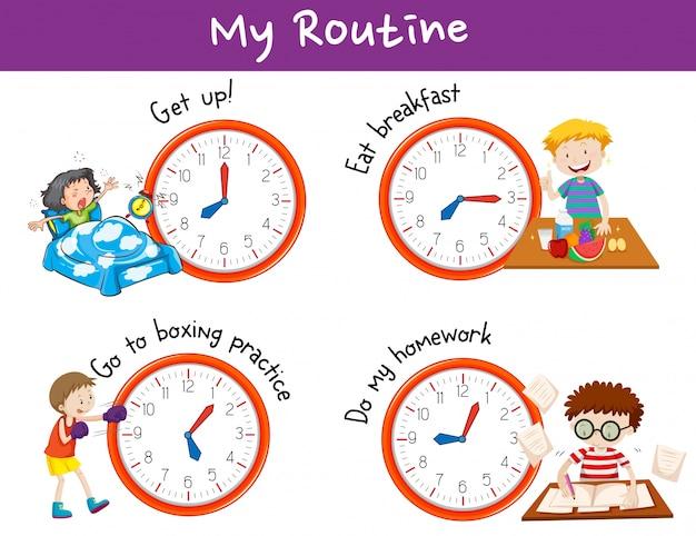 Verschiedene zeiten und aktivitäten für kinder