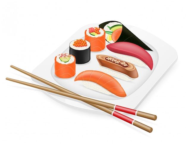 Verschiedener satz sushi mit essstäbchen auf einer plattenvektorillustration