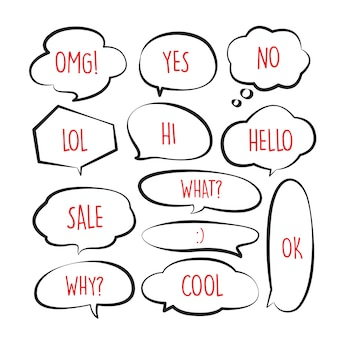 Verschiedenes nettes spracheblasengekritzel