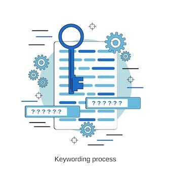 Verschlagwortungsprozess flache design-stil-vektor-konzept-illustration