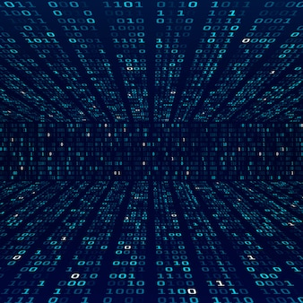 Verschlüsselungsinformationen. binärcode auf blauem hintergrund. zufällige binärzahlen. firewall abstraktes konzept. illustration