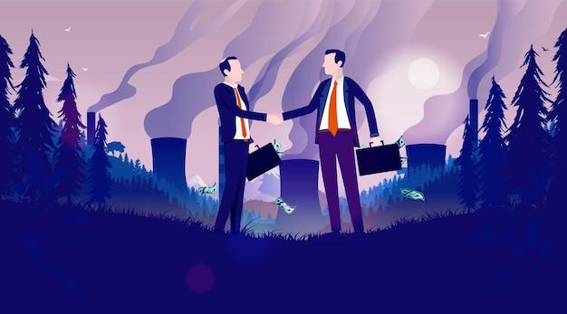 Verschmutzende geschäftsillustration mit zwei männern, die hände rütteln umweltverschmutzungslandschaft
