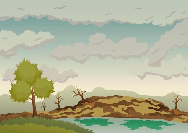 Verschmutzte erde. landschaft mit naturökologischen elementen und ökologieproblemkonzept Premium Vektoren