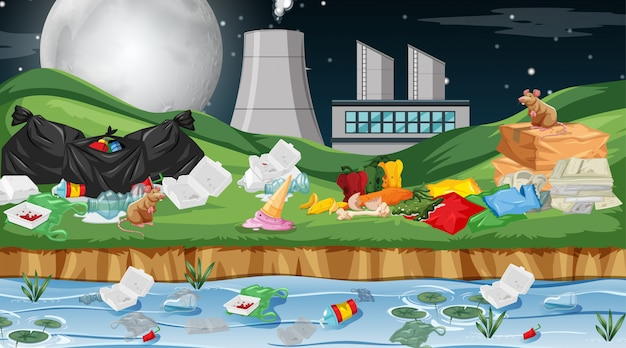 Verschmutzte umwelt mit fabrik