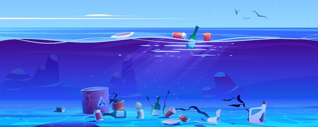 Verschmutzung des ozeans durch plastikmüll und abfall