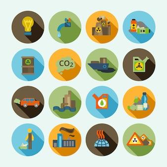 Verschmutzung icons set