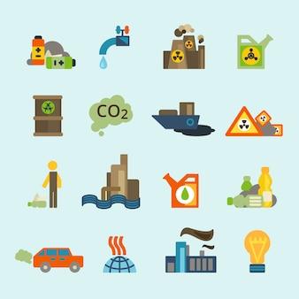 Verschmutzungsikonensatz