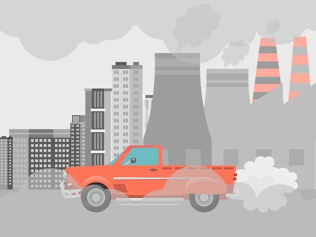 Verschmutzungsluft durch vektorillustration der autos. städte straßensmog, fabriken und industrierauch. städtischer stau mit umweltverschmutzung durch giftige gase.
