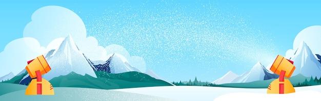 Verschneite landschaft abbildung