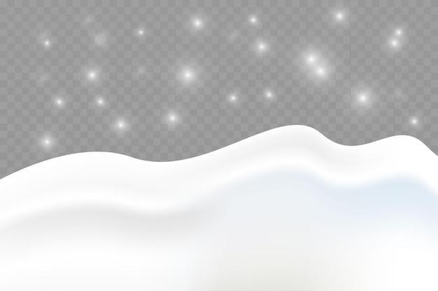 Verschneite landschaft auf dunklem transparentem hintergrund isoliert vektor-illustration von winterdekor