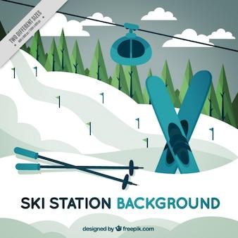Verschneite landschaft des skiorts