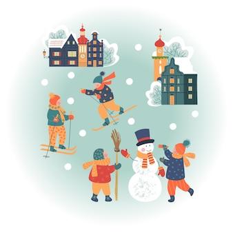Verschneiter tag in gemütlicher weihnachtsstadtkinder machen einen schneemann zum skifahren kinder spielen im winter draußen
