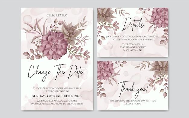 Verschobene hochzeitskarte mit aquarellblumensatz