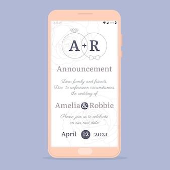 Verschobenes smartphone-konzept für hochzeitsansagen
