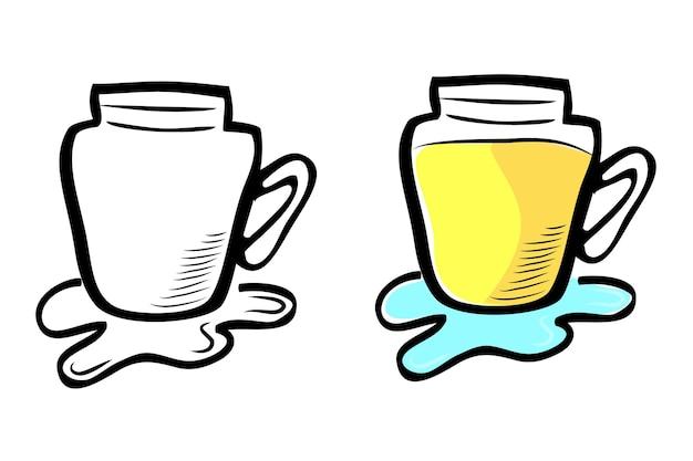 Verschütten sie gelbes kaltes getränk, vektor-einfache gekritzel-handzeichnungsskizze