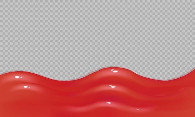 Verschütten von ketchup-sauce isoliert auf einer transparenten hintergrundillustration von realistischer roter flüssigkeit, die ketchup oder verschüttete marmelade fließende geleesauce tropft