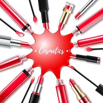 Verschütteter roter lipgloss mit applikatorhintergrund. runder spritzer. abbildung der make-up-kosmetikprodukte. gut für werbebannerplakat.