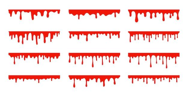 Verschüttetes blut. eine rote klebrige flüssigkeit, die blut tropfte.