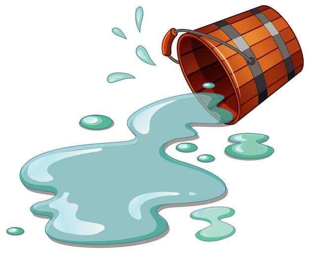 Verschüttetes eimerwasser isoliert