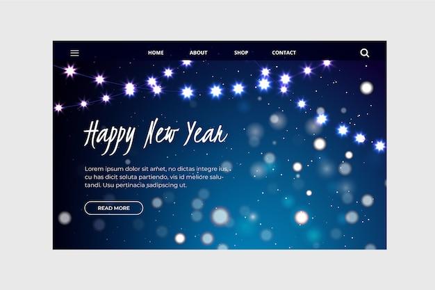 Verschwommene blaue neujahrs-landingpage