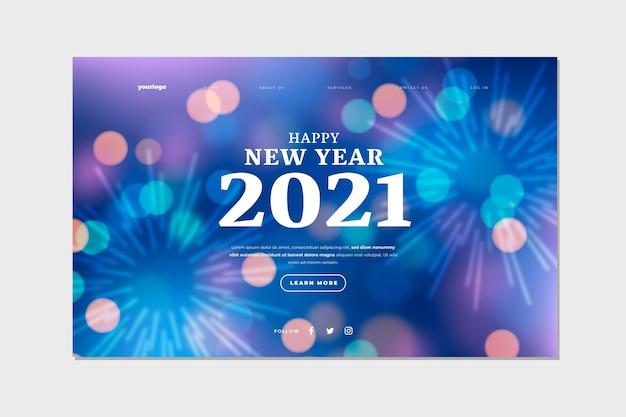 Verschwommene neujahrs-landingpage-vorlage