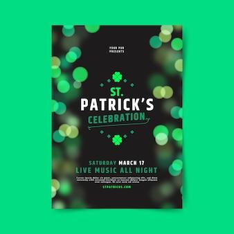 Verschwommene st. patrick's day flyer vorlage