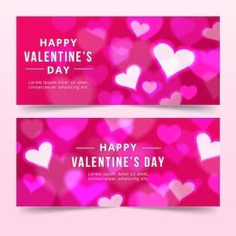 Verschwommene valentinstag banner