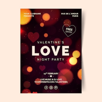 Verschwommene valentinstag party flyer / poster vorlage