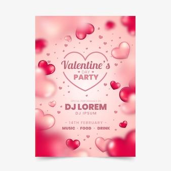 Verschwommene valentinstag party flyer vorlage