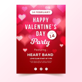 Verschwommene valentinstag party flyer vorlage