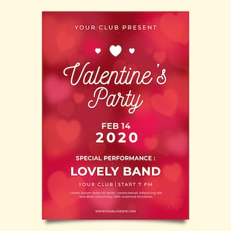 Verschwommene valentinstag party flyer