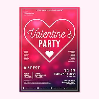 Verschwommene valentinstag party plakat vorlage