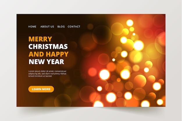 Verschwommene weihnachtslandingpage mit bokeh-effekt