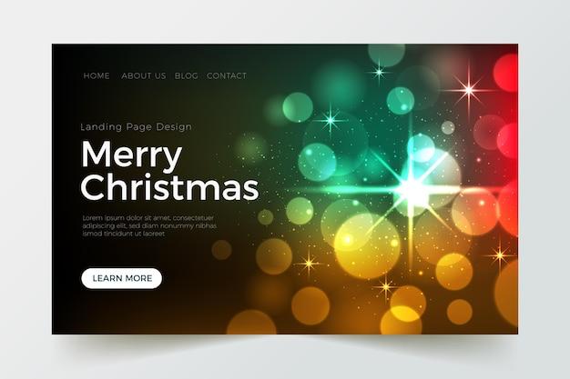 Verschwommene weihnachtslandingpage-vorlage