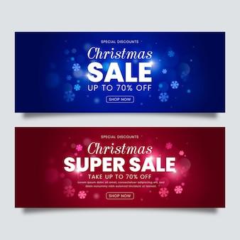 Verschwommene weihnachtsverkaufsbanner gesetzt