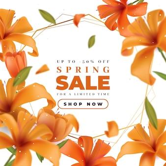 Verschwommener frühlingsverkauf mit orangefarbenen lilien