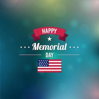 Verschwommener glücklicher gedenktag und flagge
