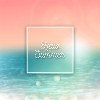Verschwommener hallo sommer mit sonnenuntergang und wasser