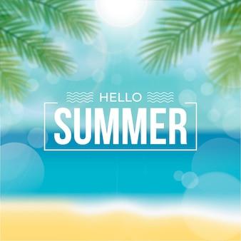 Verschwommener hallo sommer mit strand und blättern