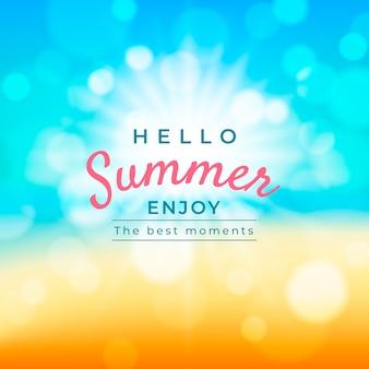 Verschwommener hallo-sommer-schriftzug