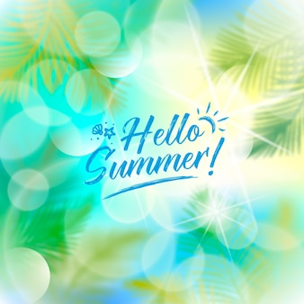 Verschwommener hallo sommer und blätter