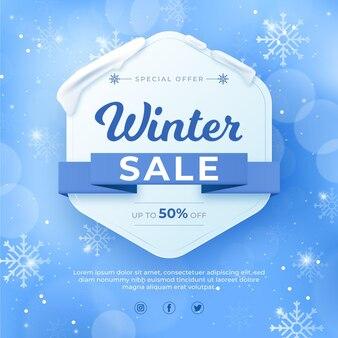 Verschwommener winterschlussverkauf und schnee