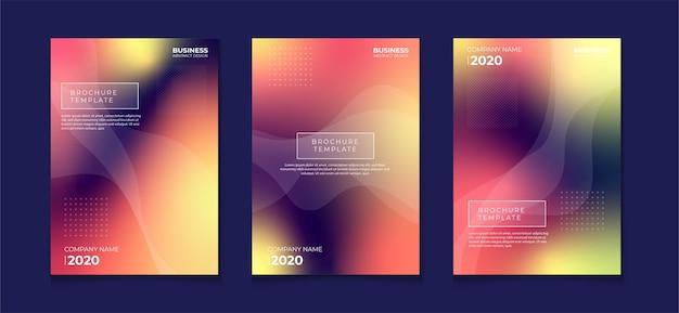 Verschwommenes abstraktes buchcover-flyer-design-set mit farbverlauf